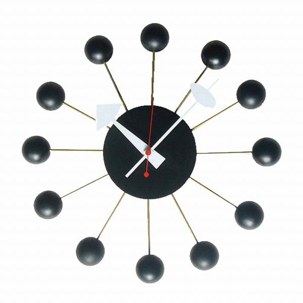 RETRO SERIES(レトロシリーズ) HERMOSA ハモサ ジョージネルソン BALL CLOCK ボールクロック 掛け時計 ブラック LDEL-006【インテリア時計掛け時計RETRO SERIES】【TiCTAC】チックタックオンラインストア