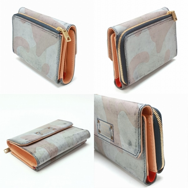AS2OV アッソブ CAMOUFLAGE LEATHER WALLET SHORT WALLET 財布 Navy 101602