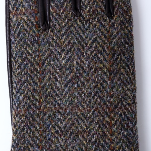 iTouch Gloves アイタッチグローブ HARRIS TWEED ヘリンボーン タッチパネル対応 レザー 手袋 Brown iTGL-H012-BRH/Lsize