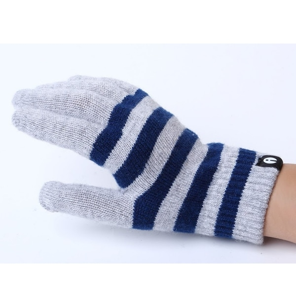 【SALE】iTouch Gloves アイタッチグローブ Stripes タッチパネル対応 手袋 ライトグレー×ネイビー iTG-012-LGYxNV/Ssize