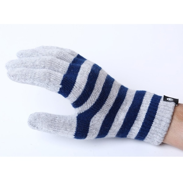 【SALE】iTouch Gloves アイタッチグローブ Stripes タッチパネル対応 手袋 ライトグレー×ネイビー iTG-012-LGYxNV/Lsize