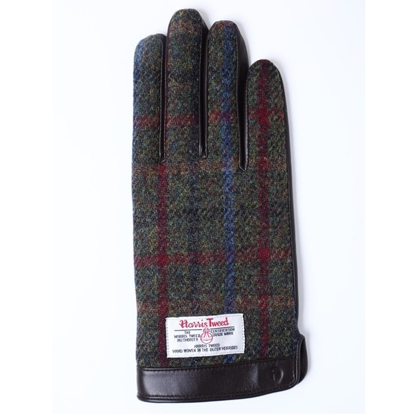 【SALE】iTouch Gloves アイタッチグローブ HARRIS TWEED チェック タッチパネル対応 レザー 手袋 BRxBRC iTGL-H015-BRxBRC/Lsize