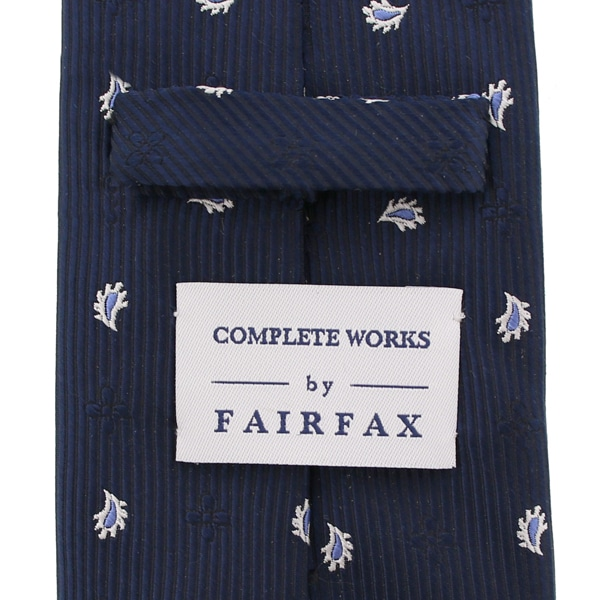 FAIR FAX × COMPLETE WORKS フェアファクス × コンプリートワークス 別注 シルク ネクタイ  ペイズリー ストライプ  Navy CWFF05