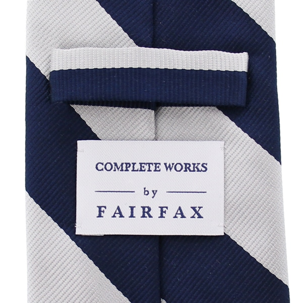 FAIR FAX × COMPLETE WORKS フェアファクス × コンプリートワークス 別注 シルク ネクタイ  太 ストライプ  Navy × White CWFF8F02-A