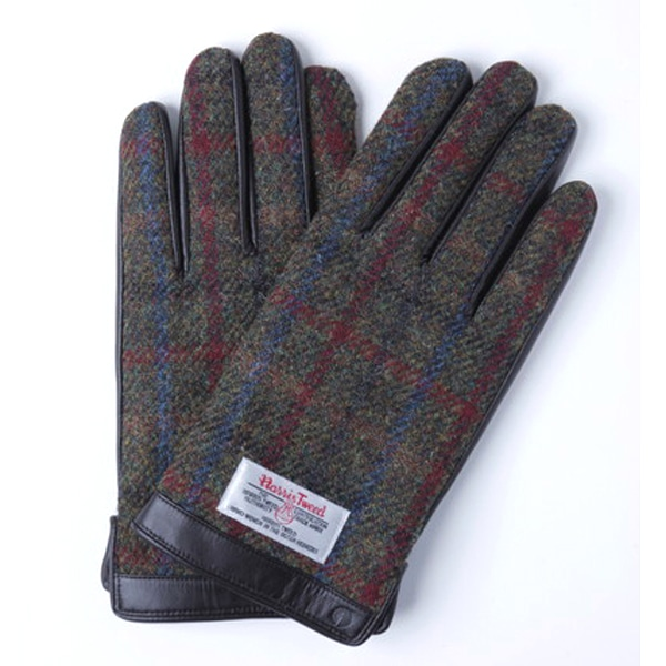 【SALE】iTouch Gloves アイタッチグローブ HARRIS TWEED チェック タッチパネル対応 レザー 手袋 BRxBRC iTGL-H015-BRC/L-15