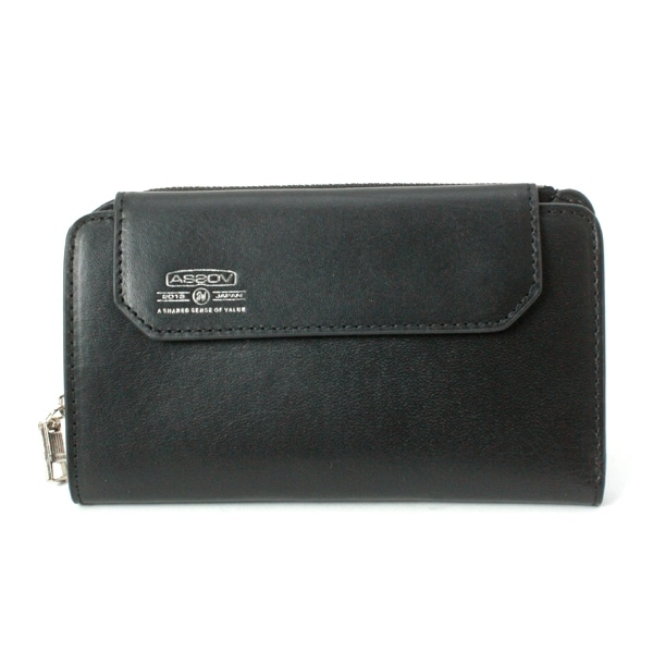 AS2OV アッソブ LEATHER MOBILE SHORT WALLET Black 081601